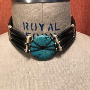 Jewelry - Genuine leather and real turquoise choker